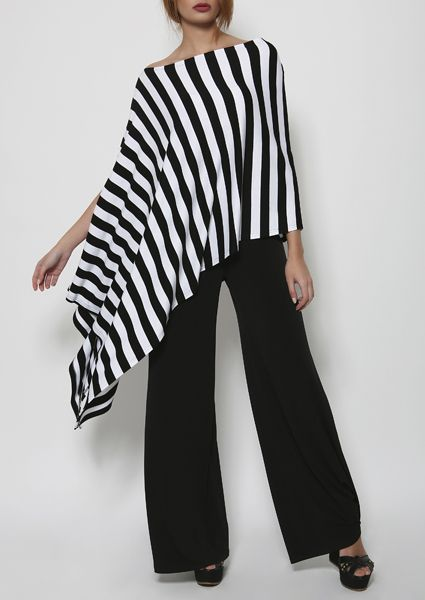Asymmetrical, modern poncho one size in black and white stripe, emphasizes your silhouette and boosts your style !!
