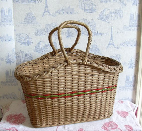 Vintage French wicker market basket