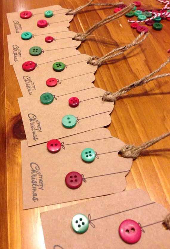Christmas Gift Tags. Cut out from recycled paper grocery bags, add buttons, glitter, sequins...Christmas tree shapes would also be fun.
