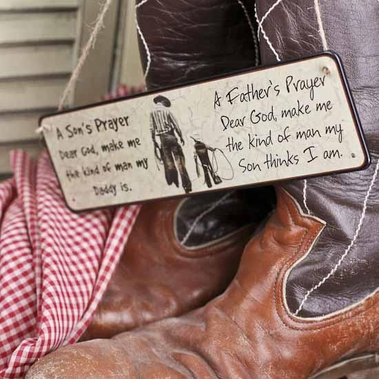 Cowboy Father and Son Prayer Sign