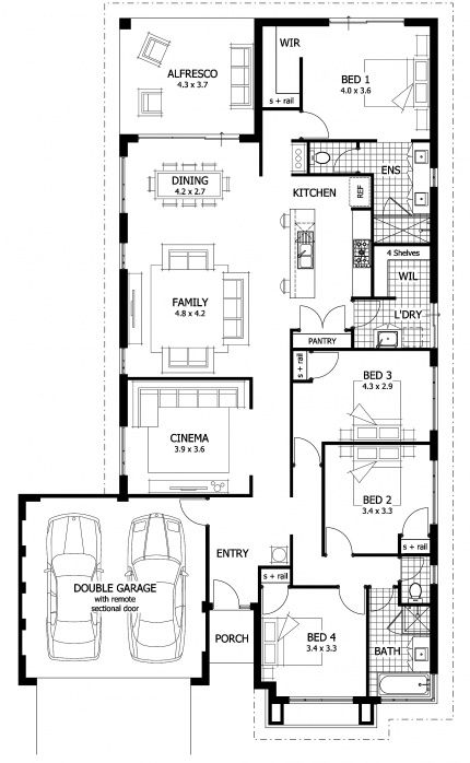 Miranda Floor Plan - The Miranda's unique design offers open plan living with a master retreat to the rear and a kids zone to the front of the home.