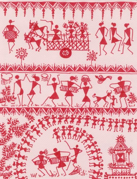 Title: Warli Rejoicing  Medium: Painting - Color Markers On Hand Made Paper  http://fineartamerica.com/featured/warli-rejoicing-subhash-limaye.html
