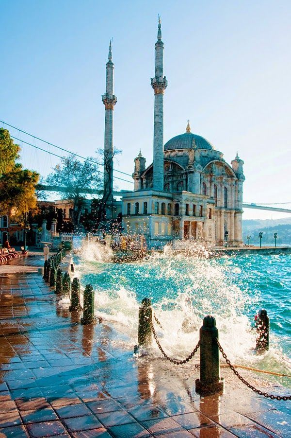 Ortakoy Mosque, Istanbul Turkey. My mother, my fiancé, and I visited this spot right after Ramazan last year. We had lemonade by the sea and watched balloons illuminated by fire rise up into the August sky. My mother is in Hospice now, but the photo of her and my fiancé in this place never fails to bring a smile to her face. <3