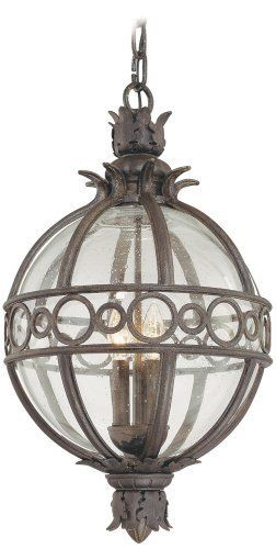"Campanile Collection 27 1/2"" High Outdoor Hanging Light by Troy. $856.91. The Campanile outdoor collection from Troy Lighting is bursting with Mediterranean beauty and charm. This spectacular design is crafted from hand-forged iron and features classic acanthus leaf details. The frame, presented in a Campanile bronze finish, surrounds a center of clear seedy glass which gracefully displays the glowing fixtures within. A wonderful design for lighting your outdoor spaces."