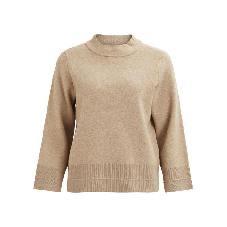 Viovilina 7/8 sleeve knit top dusty camel - Vila