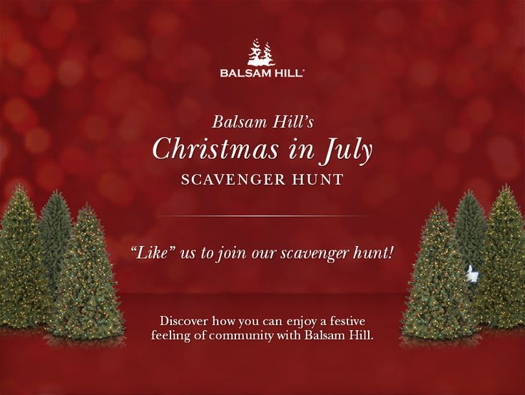 Join Balsam Hill's Christmas in July Scavenger Hunt! Clues will be revealed on the Balsam Hill Facebook page from July 4 to 25. Answer these correctly for a chance to win one of five $50 Gift Cards and a $200 Gift Card!  #contest #giveawayBalsamic Hills, Hills Facebook, Christmas In July, Contest Giveaways, Gift Cards, 200 Gift, Hills Christmas, Scavenger Hunting Clues, Join Balsamic