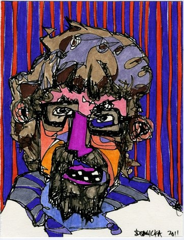 """""""Self Portrait"""", ink and marker on paper,   12 x 9"""", 2011"""