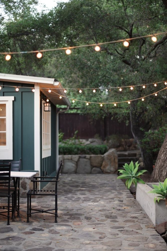 Backyard Party Lights Over A Stone Patio For Porch