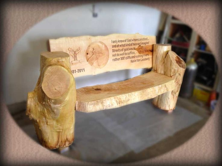 Unusual Wooden Benches Personalized Carved Memorial And