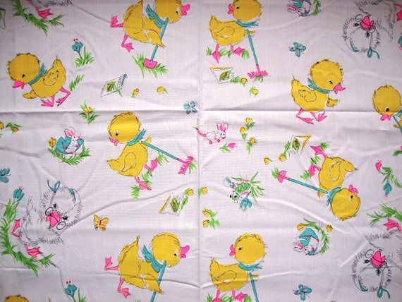 Cute vintage 60s cute baby duck fabric tulips bunnies for Cute baby fabric prints