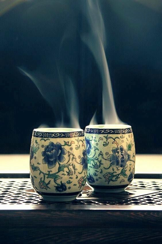 ...2 steaming cups of tea.....