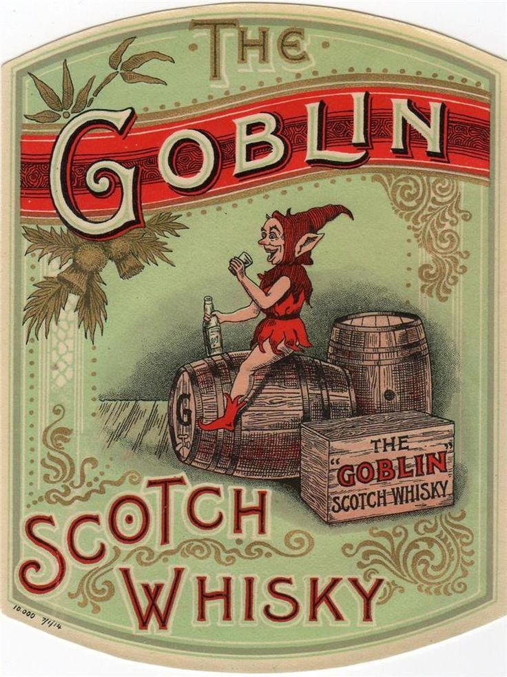 ORIGINAL EARLY VINTAGE SCOTCH WHISKY LABEL - THE GOBLIN