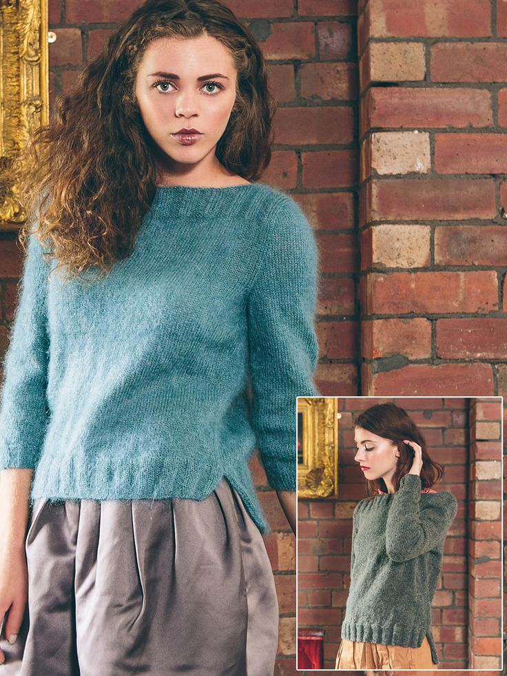 Jamie - Knit this womans jumper from Rowan Loves. A design by Sarah Hatton using the gorgeous Kidsilk Haze or the beautiful Felted Tweed. Kidsilk Haze jumper has 3/4 sleeves while the Felted Tweed has long sleeves both have a slash neck and a split at both side seams. This is for a beginner knitter