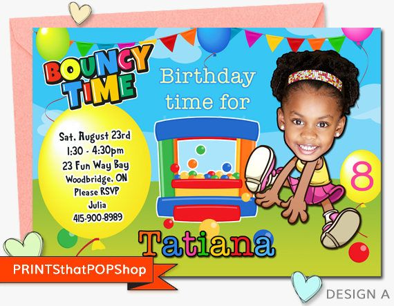 Bounce Castle Invitation,Trampoline,Sibling Party,Twins,Triplets,Jump,Birthday,Custom Face Invite,Trampoline,Bouncy House,Backyard Party,kid