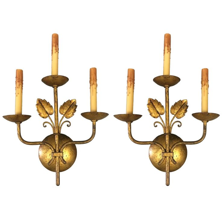 Mid-Century French Gilt Leaf Wall Sconces, Pair