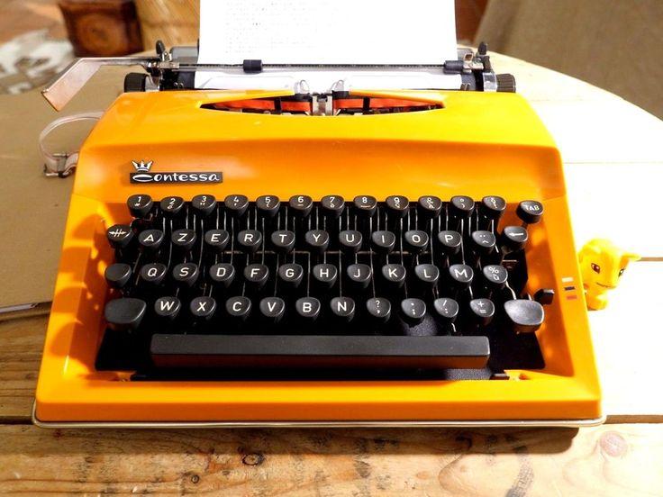 machine à écrire TRIUMPH ADLER CONTESSA Orange Vintage Révisée + ruban NEUF #TriumphAdler