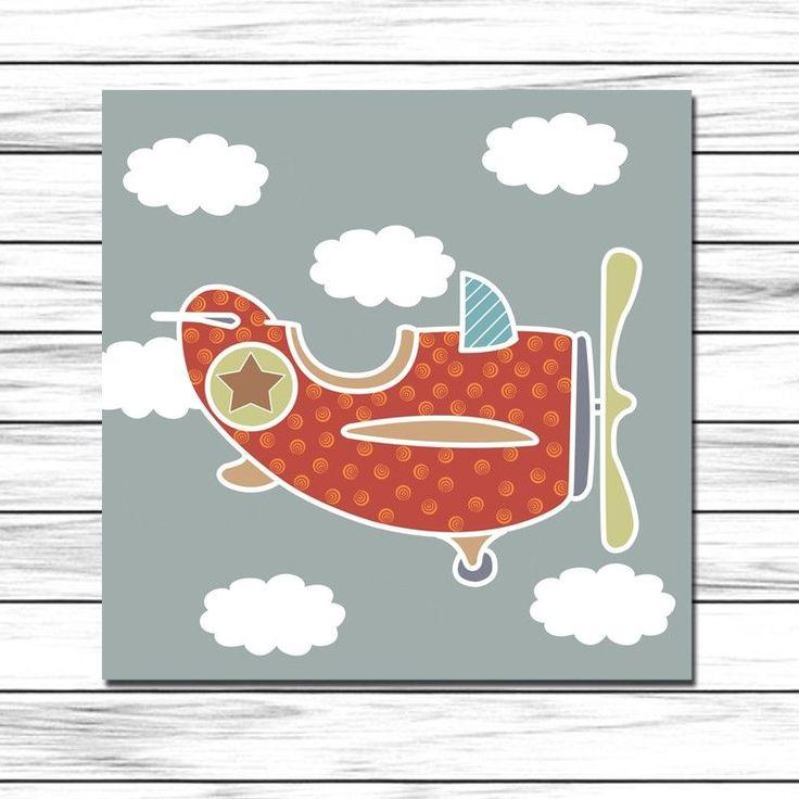 Cuadro infantil Avión color para decoración de paredes en habitaciones