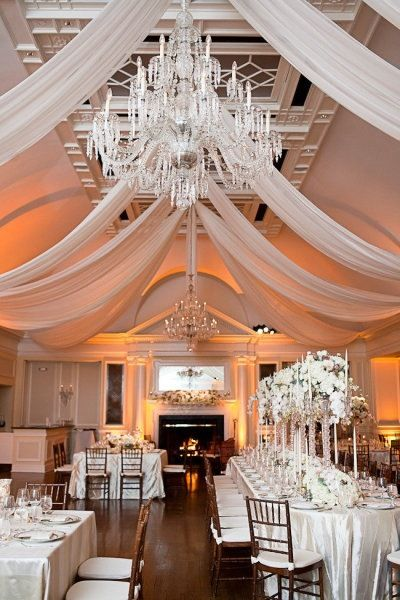 ceiling tapestries are an easy way to class up a wedding