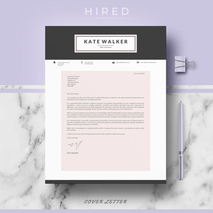 Creative Resume Template for MS Word u201cKateu201d