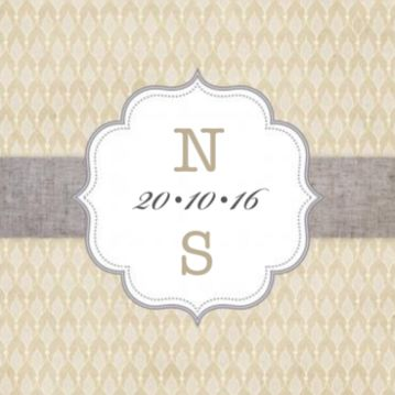 Klassieke trouwkaart barok met label