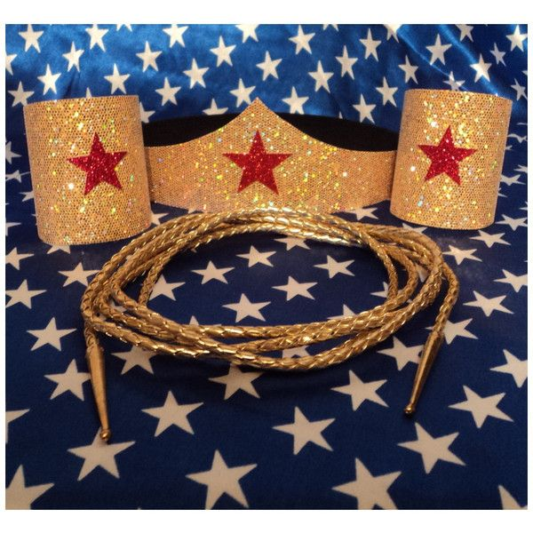 New Wonder Woman Costume Accessories Set Tiara, Cuffs, & Lasso Super... ($24) ❤ liked on Polyvore featuring costumes, costume, adult super hero costumes, superhero costumes, vinyl costume, wonder woman halloween costume and adult star costume