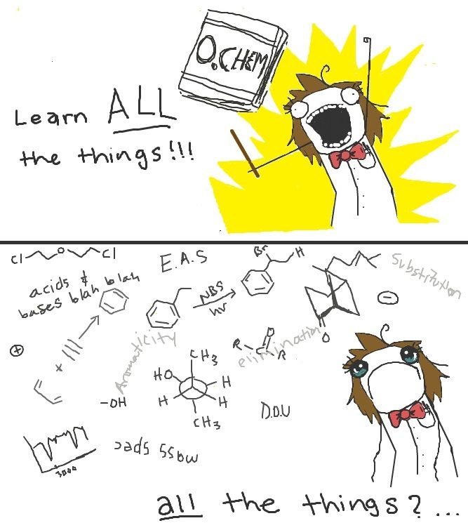 The excitement then came the reality of Organic Chemistry. #Orgo
