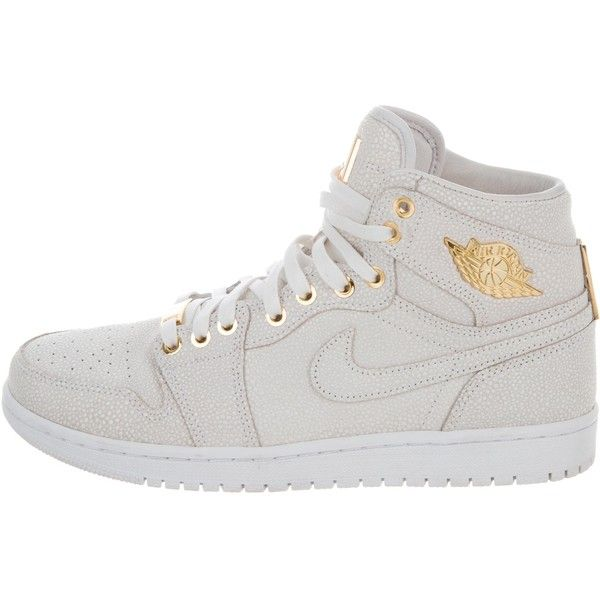 Pre-owned Nike Air Jordan Retro 1 Sneakers ($425) ❤ liked on Polyvore featuring men's fashion, men's shoes, men's sneakers, neutrals, mens hi tops, nike mens shoes, mens white shoes, mens high top sneakers and mens high tops