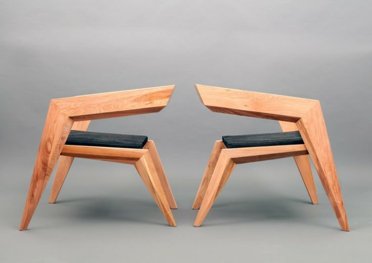 Furniture, Furniture Elbow Chairs Wooden Chairs Seat Design Lacquer Teak Wood Untreated Right Angle Chairs Face To Face Art: Marvellous Celebrating Avant-Garde Minimalism: 2R Armchair by Sien Studio