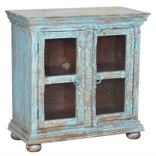 "38"" Hand Carved Mango Wood Glass Display Cabinet Antique Turquoise Distressed- $749.00"