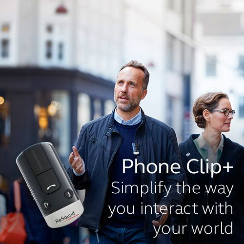 Phone Clip+. Simplify the way you interact with your world  Visit resound.com/en-AU/hearing-aids/accessories