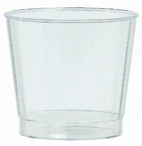 Plastic 9 oz. Premium Quality Tumblers (24 Pieces Per Box) by AMSCAN. $15.99. Each holds 9 ounces. Boxed set. The look of fine crystal with the convenience of plastic. 24 Pieces per unit. Perfect for outdoor gatherings. This disposable plastic tumbler is perfect for your outdoor occasion. Each unit contains 24 -9 ounce tumblers. They are either disposable or can be hand washed for additional uses. They are designed to look like fine crystal, but with the convenience of plastic.
