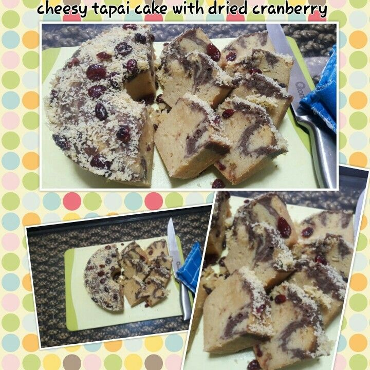 Cheesy tapai cake with cranberry