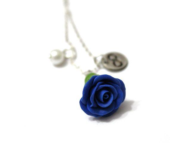 Rosebud Infinity Necklace Blue Rose Necklace by NikushJewelryArt