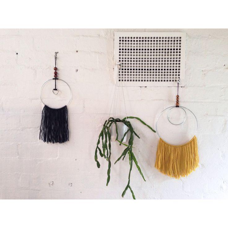 White bricks and wool textile wallhanging - Little Bubalishka -