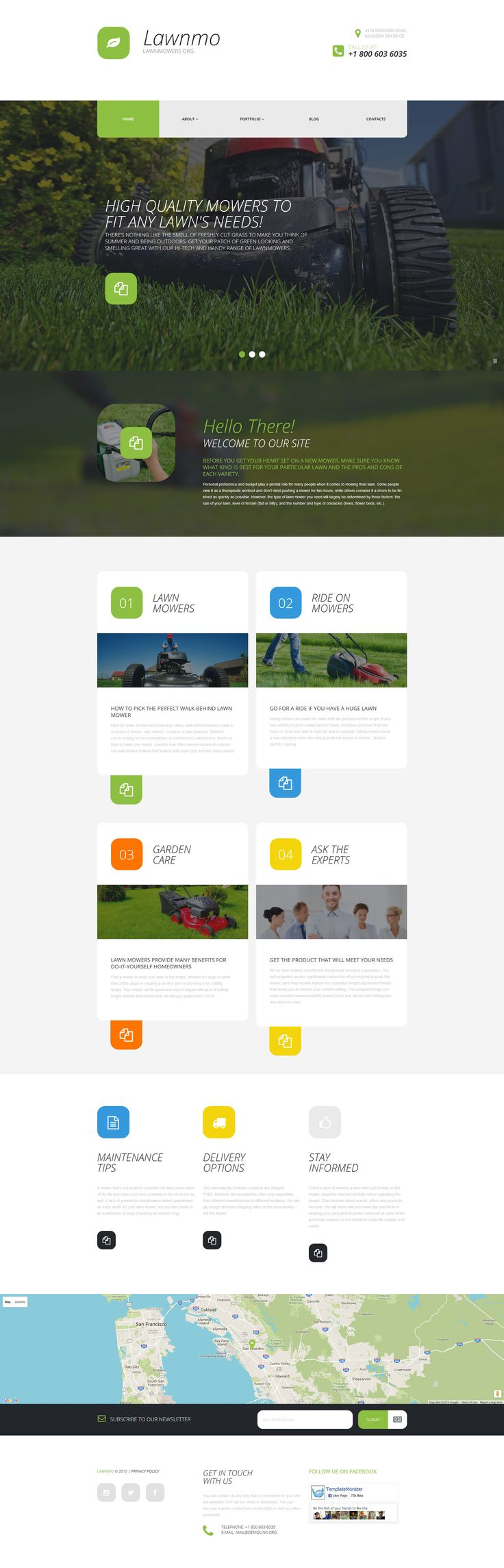 Tema WordPress Flexível para Sites de Cortador de Grama