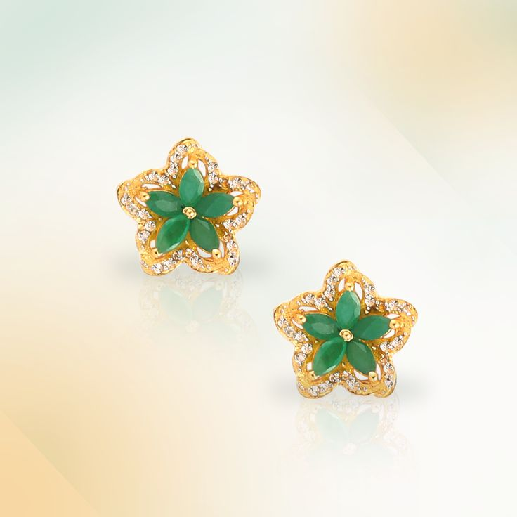 Emerald earrings in Gold Plated Sterling Silver   Shipping across India