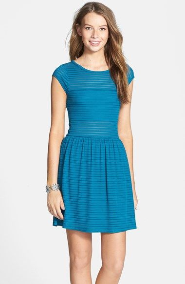 Free shipping and returns on Socialite Illusion Stripe Skater Dress (Juniors) at Nordstrom.com. Clean shutter pleats define a versatile skater dress featuring a cap-sleeve illusion bodice and a classic A-line skirt.