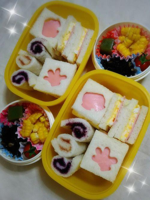 posted by @chika_5055 今日のお弁当サンドイッチとジャムロールとうもろこし ひじきの煮物...