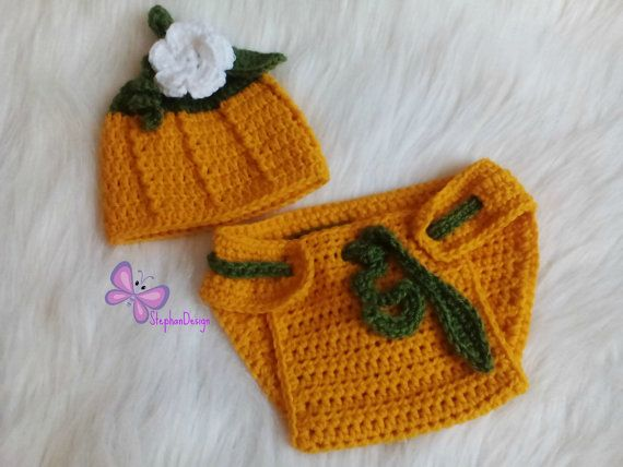 Newborn Pumpkin Set Crochet pumpkin costume by StephanDesign
