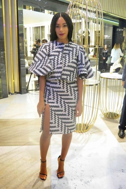 Hot! or Hmm…: Solange Knowles Dubai DJ Event Christian Siriano Spring 2014 Black and White Zig Zag Printed Raffia Cropped Top and Skirt - Th...