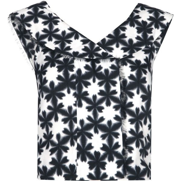 Whistles Sekka Floral Frayed Top ($44) ❤ liked on Polyvore featuring tops, black and white, flower print tops, surplice crop top, black and white crop top, summer tops and summer crop tops