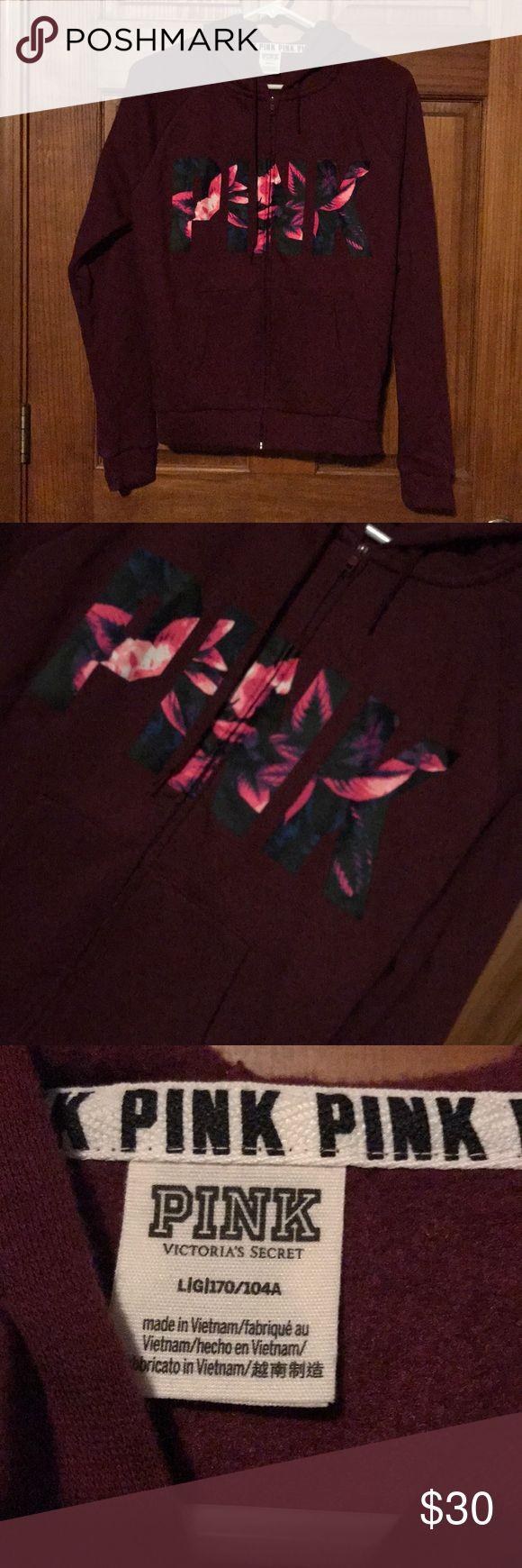 Victors Secret PINK. zip up NWOT maroon PINK zip up reasonable offers accepted PINK Victoria's Secret Tops Sweatshirts & Hoodies
