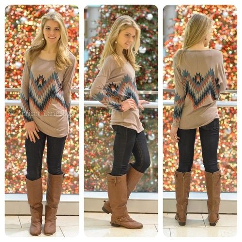 Tribal Print Long Sleeve Tee.