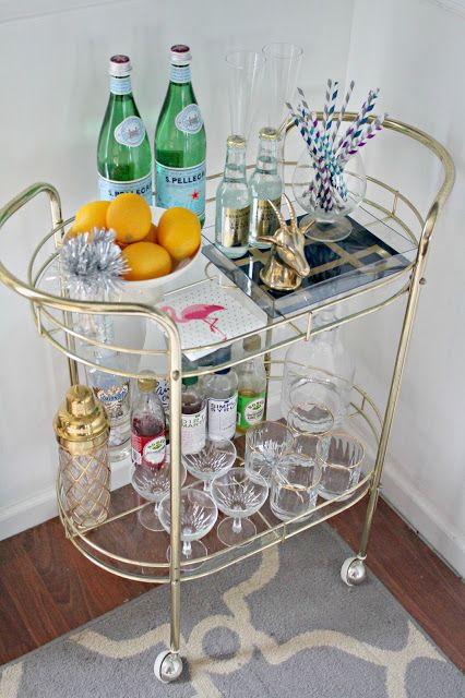 stocked and styled bar cart