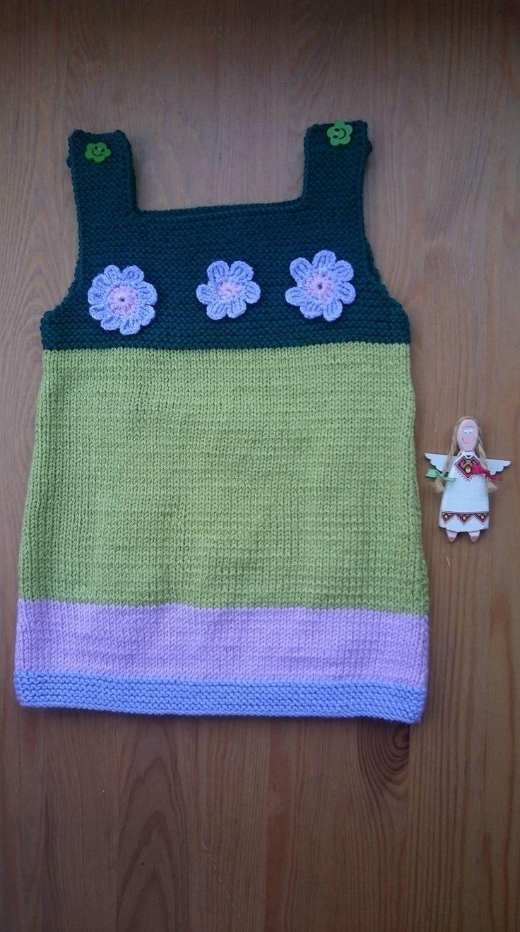 BABY JUMPER/DRESS. Infant Bodysuit. Hand-knitted Dress. Green Jumper. Baby Size For 9-12 Months. Dress With Flowers. Handmade Bodysuit.