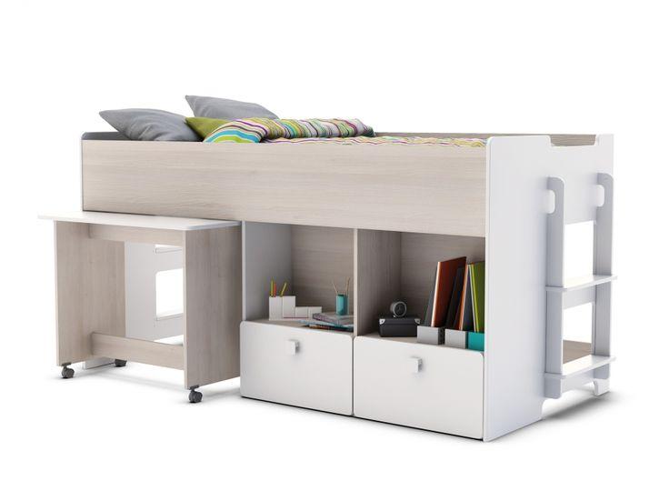 Praktisk säng+förvaringslösning för J. GAME Säng m. Skrivbord Vit/Akacia i gruppen Inomhus / Barnmöbler hos Furniturebox (100-56-73258)
