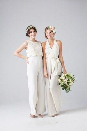 white lace and halter bridesmaid jumpsuits - brides of adelaide