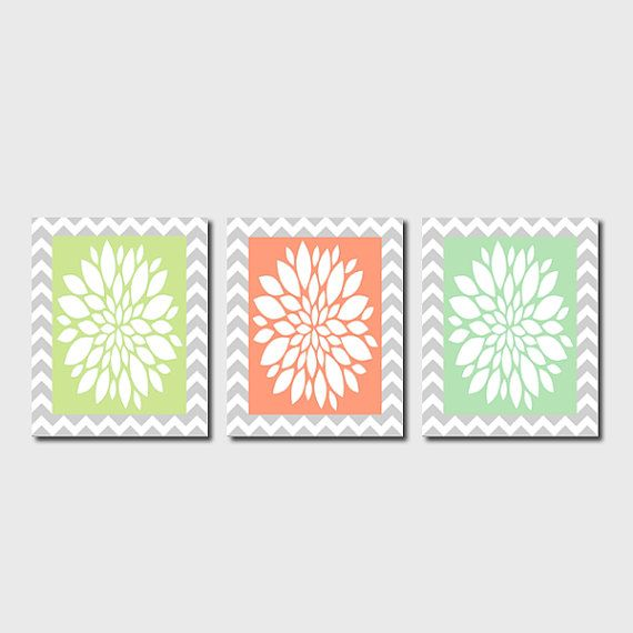Modern Abstract Flower Floral Burst Chevron Zigzag Set of 3 Prints Grey Gray Coral Mint Bedroom Bathroom Nursery Wall Art Decor Picture on Etsy, $25.00