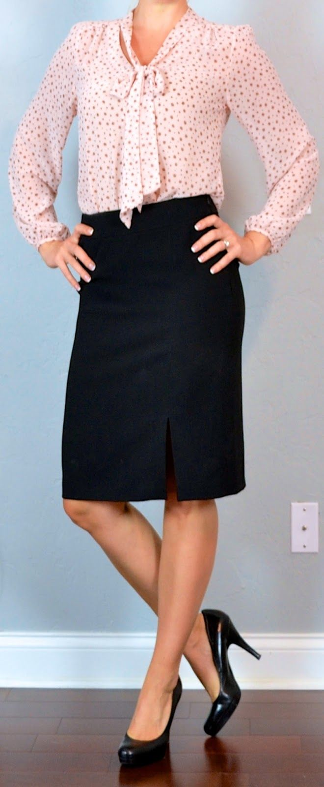 outfit post: pink tie front blouse, black pencil skirt, black pumps | Outfit Posts