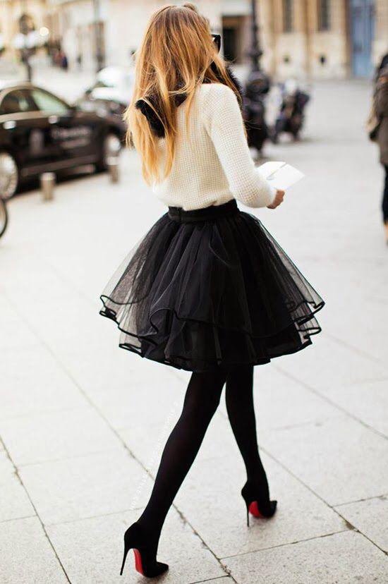 Falda tul negro